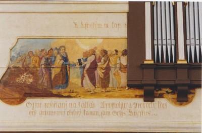 Karzatfreskó - Az Ószövetség népe átadja a Szentírást az Újszövetség népének